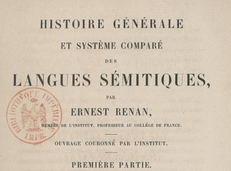 The general history and comparative system of the Semitic languages, by Ernest Renan. 1863