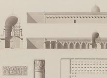 Le Caire : plan, élévation, coupes et détails d'ornement de la mosquée Ibn Touloun <br> Description de l'égypte. 1798-1809