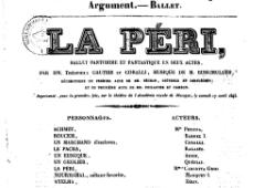 La Péri, ballet fantastique en 2 actes, par MM. Théophile Gautier et Coralli, musique de Burgmuller. Académie royale de musique, 17 juillet 1843