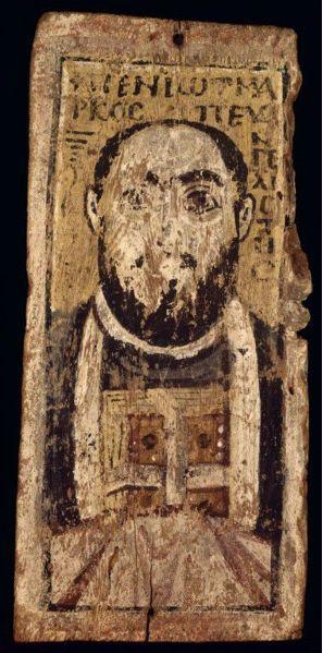 Saint Marc tenant les Évangiles. Panneau en bois peint  VIe s.