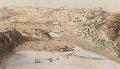 Dessin - vue panoramique de l'Isthme de Suez avec vue du canal des deux mers