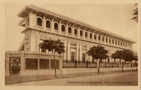 Carte postale. Stade municipal d'Alexandrie - W. Nicohosoff Bey, architecte