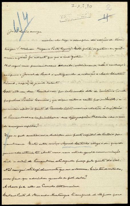 Carta a João Lúcio de Azevedo, perguntando da possibilidade de mandar copiar a parte do Conselho Ultramarino relativa à capitania de Pernambuco, e contando a ideia que teve de escrever um artigo sobre a guerra dos emboabas