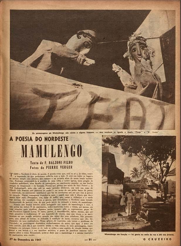 Os personagens do Mamulengo  O Cruzeiro. 1947