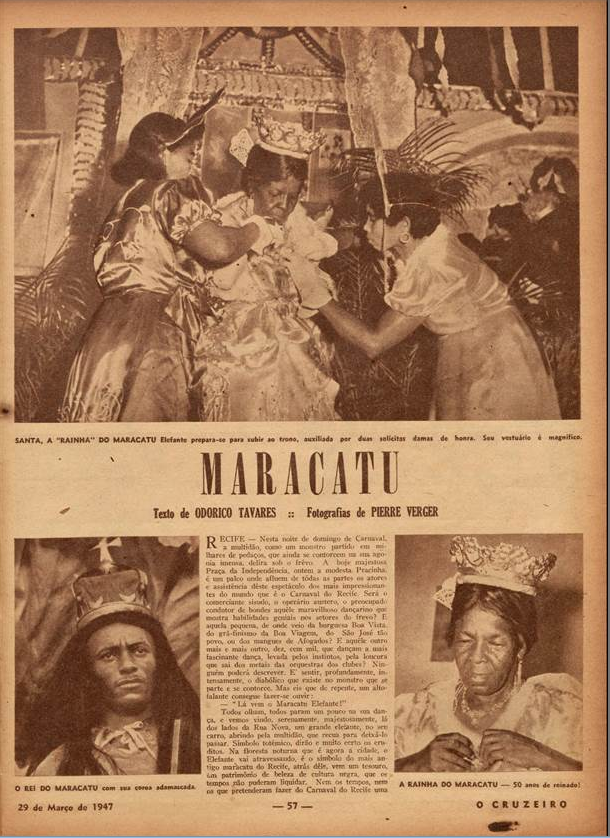 Santa a rainha do Maracatu  O Cruzeiro. 1947
