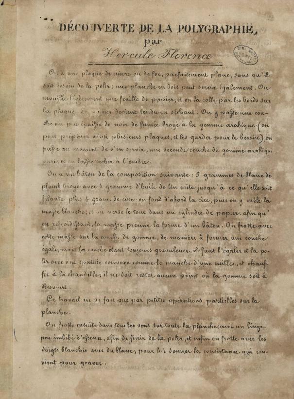 Découverte de la Polygraphie  H. Florence. 1853