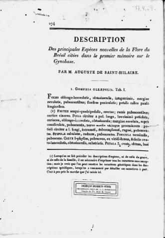 Description des principales espèces nouvelles de la Flore du Brésil citées dans le premier mémoire sur le Gynobase  A. de Saint-Hilaire
