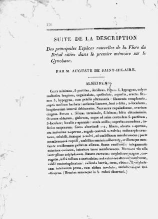 Suite de la Description des principales espèces nouvelles de la Flore du Brésil citées dans le premier mémoire sur le Gynobase  A. de Saint-Hilaire