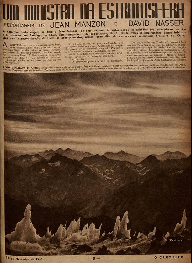 Um ministro da estratosfera  O Cruzeiro edição 04. 1944