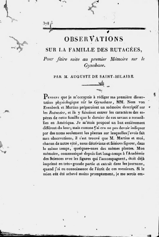 Observations sur la famille des rutacées : pour faire suit au premier Mémoire sur le Gynobrase  A. de Saint-Hilaire