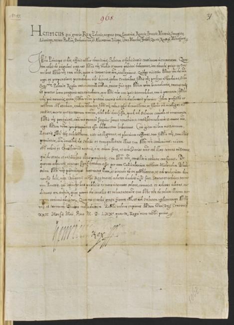 Henryk Walezy zawiadomi Alberta Fryderyka Margrabię Brandenburskiego, iż wysyła komisarzy do urządzenia stanu ziem Pruskich <br>1574