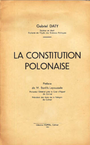 La constitution polonaise <br> G. Daty. 1933