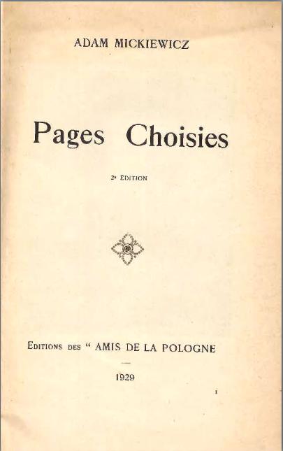 Pages choisies. Editions des amis de la Pologne <br>1929