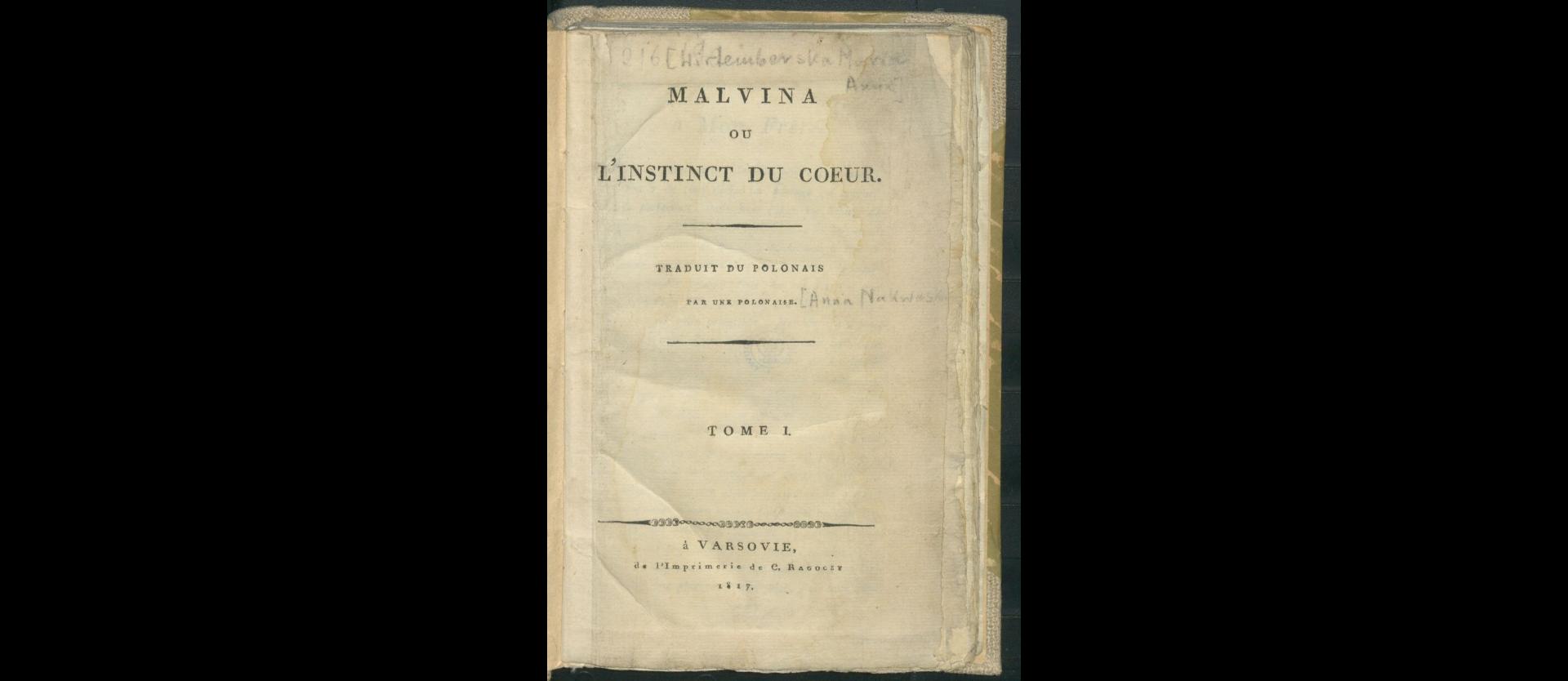 Malvina ou l'instinct du coeur T. 1. 1817