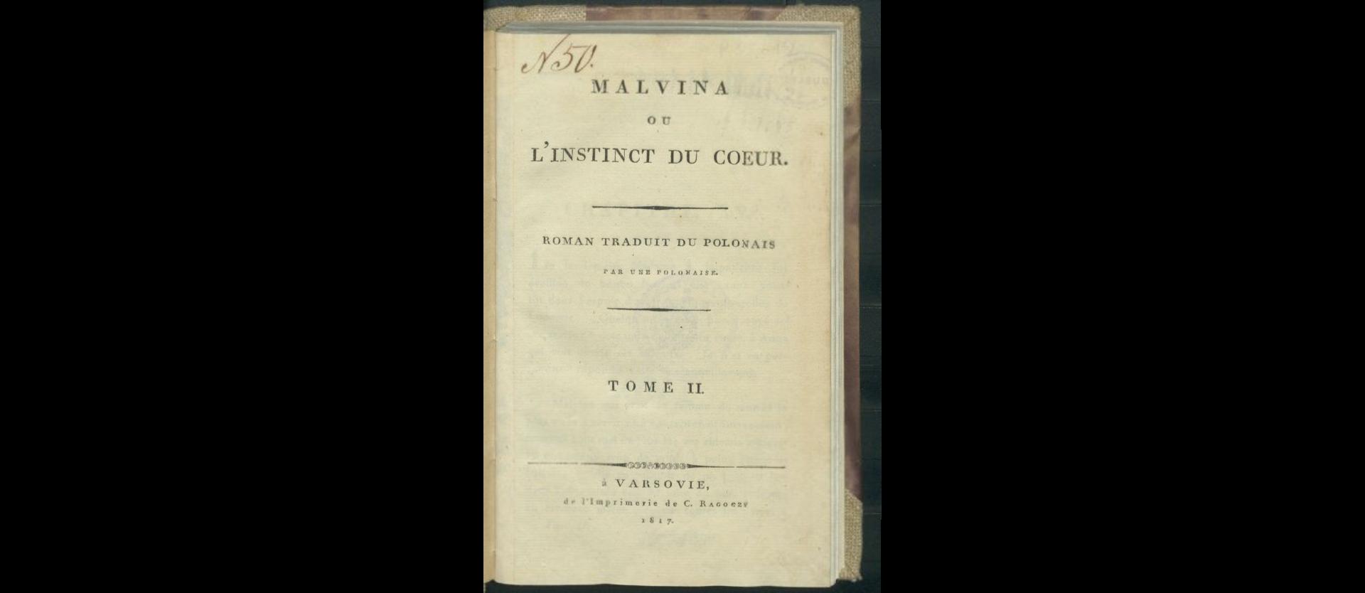 Malvina ou l'instinct du coeur T. 2. 1817