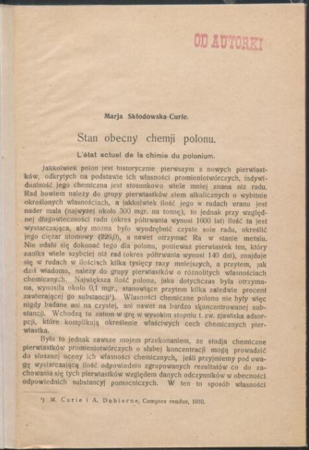 Stan obecny chemji polonu <br> Marie Curie. 1926