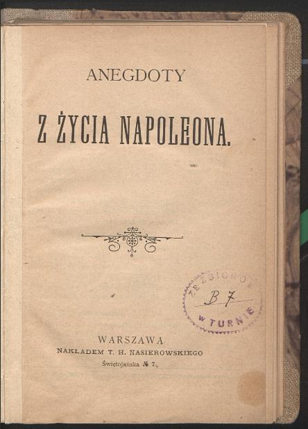 Anegdoty z życia Napoleona  1895