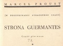 Strona Guermantes. Cz. 1 [t.] 1. 1938