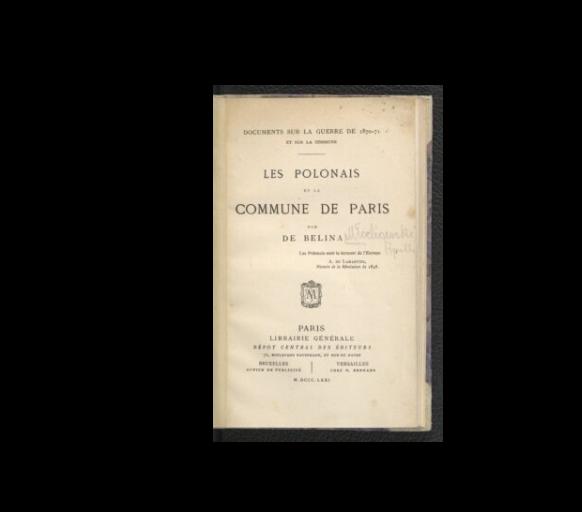 Les Polonais et la Commune de Paris  1871