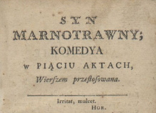 Syn marnotrawny : komedya w piąciu aktach. 1780