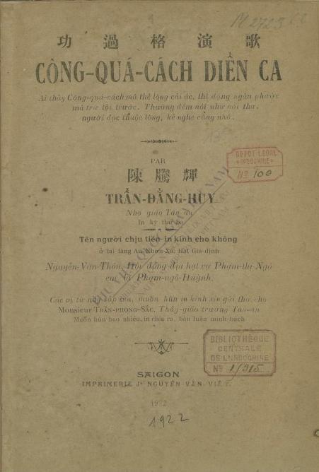 Công quá cách diễn ca  Đ. H. Trần. 1922