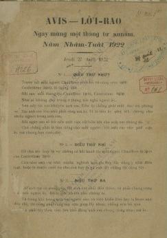Lời rao : Ngày mùng một tháng tư Annam, năm Nhâm Tuất 1922  1922