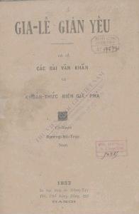 Gia-lế giản yếu  Dương Bá Trạc. 1932