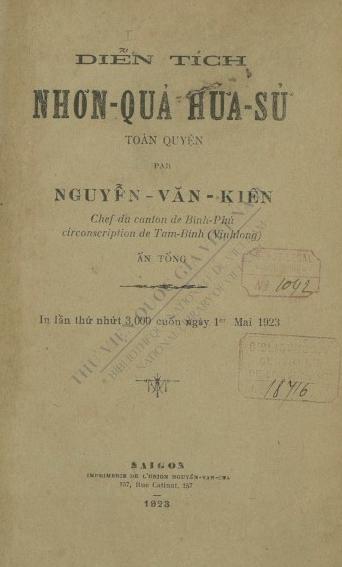 Diễn tích Nhơn quả Hứa Sử Toàn Truyện  V. K. Nguyễn. 1923