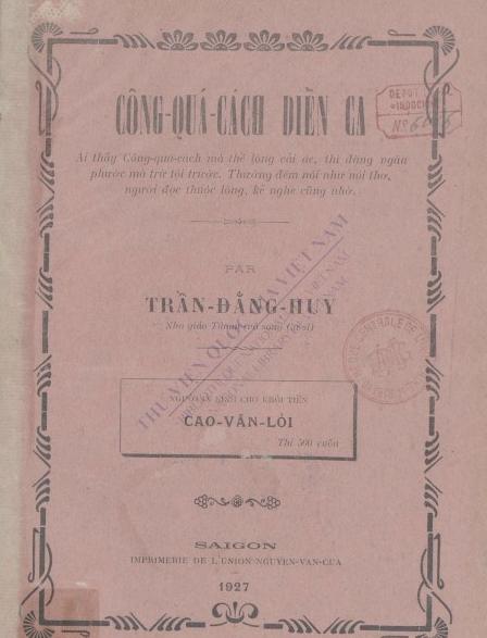 Công Quá Cách diễn ca  Đ. H. Trần Đằng.1927