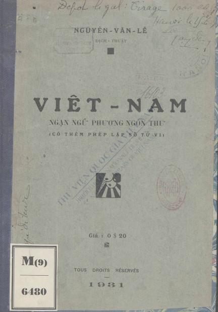 Việt Nam ngạn ngữ phương ngôn thơ : Có thêm pháp lập số tử vi  1931