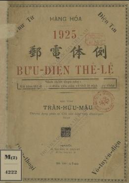 Bưu điện thể lệ  Trần Hữu Mậu. 1925