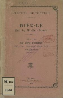 Điều lệ chơi họ Mỹ-Đức-Đường  1923