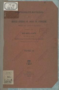 Comptabilité matières des services généraux ou locaux de l'Indochine  Do Duc Khoi. 1926