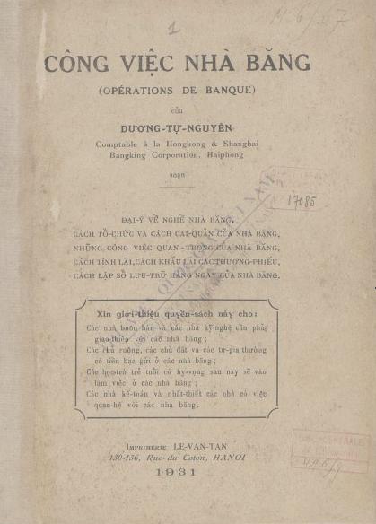 Công việc nhà băng  Dương Tự Nguyện. 1931