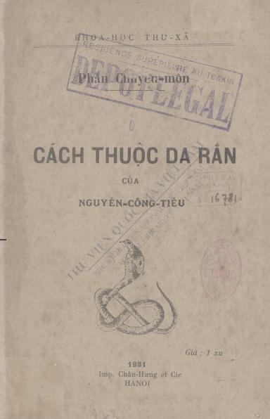 Cách thuộc da rắn  Nguyễn Công Tiễu. 1931