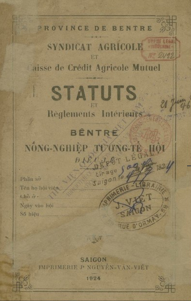 Bến Tre nông nghiệp tương tế hội : Điều lệ  1924