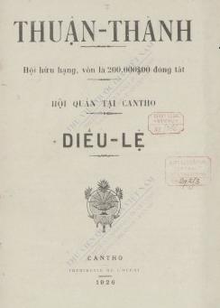 Điều lệ Hội Thuận Thành. 1926