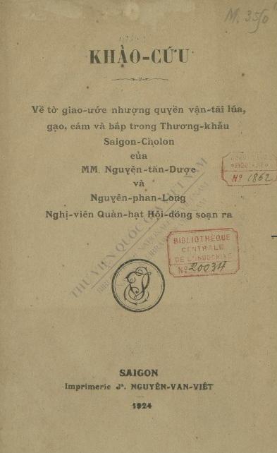 Khảo cứu  T. D. Nguyễn ; P. L. Nguyễn. 1924