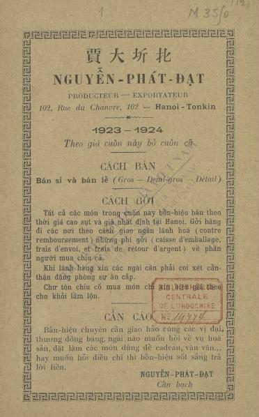 Bản kê giá 1923-1924 : Theo giá cuốn này bỏ cuốn cũ  1923