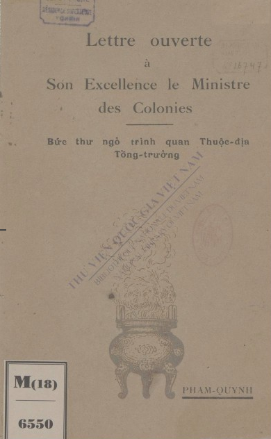 Lettre ouverte à son excellence le Ministre des colonies 1931