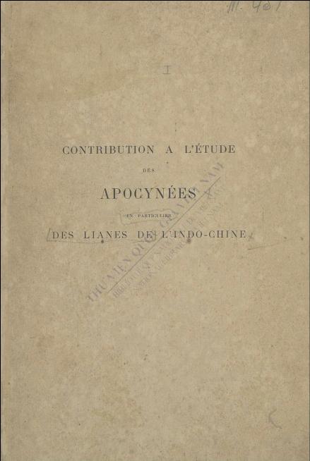 Contribution à l'étude des apocynées (...) lianes de l'Indo-Chine  C. Spire. 1905