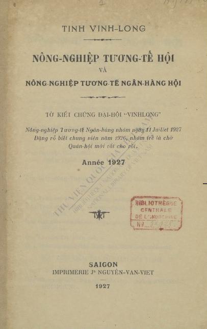 Nông nghiệp tương tế hội  1927