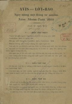 Lời rao : Ngày mùng một tháng tư Annam, năm Nhâm Tuất 1922