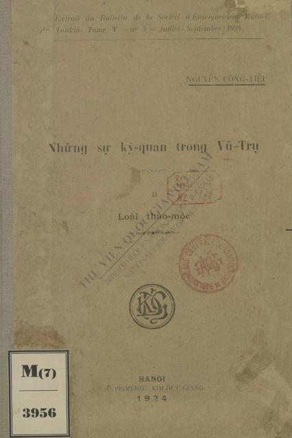 Những sự kỳ-quan trong vũ trụ : Loài thảo mộc  Công Tiễu Nguyễn. 1924
