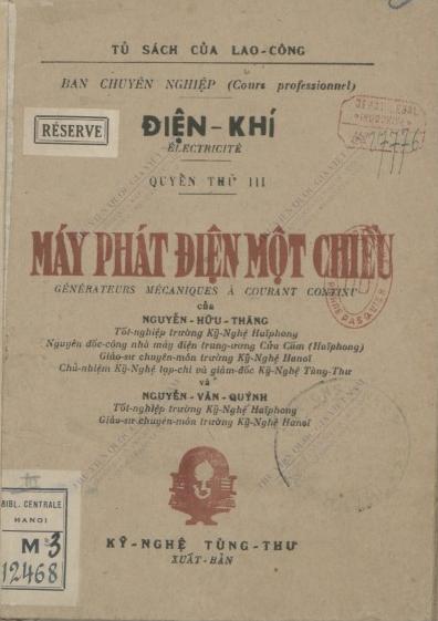 Máy phát điện một chiều  H. T. Nguyễn ; V. Q. Nguyễn  1942