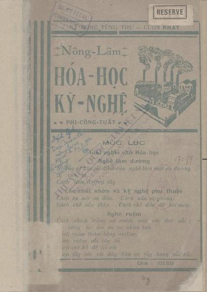 Nông lâm : Hoá học kỹ nghệ  Phi Công Tuất. 1932
