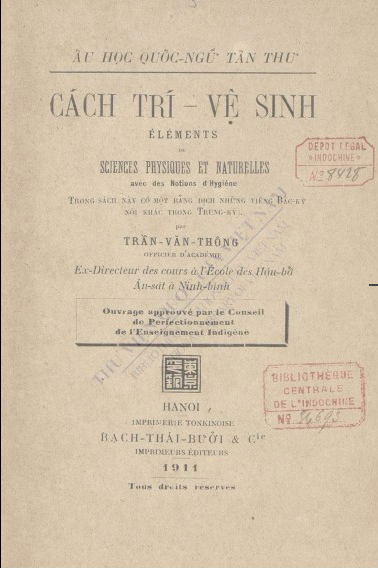 Cách trí Vệ sinh: éléments des sciences physiques et naturelles Trần Văn Thông. 1911